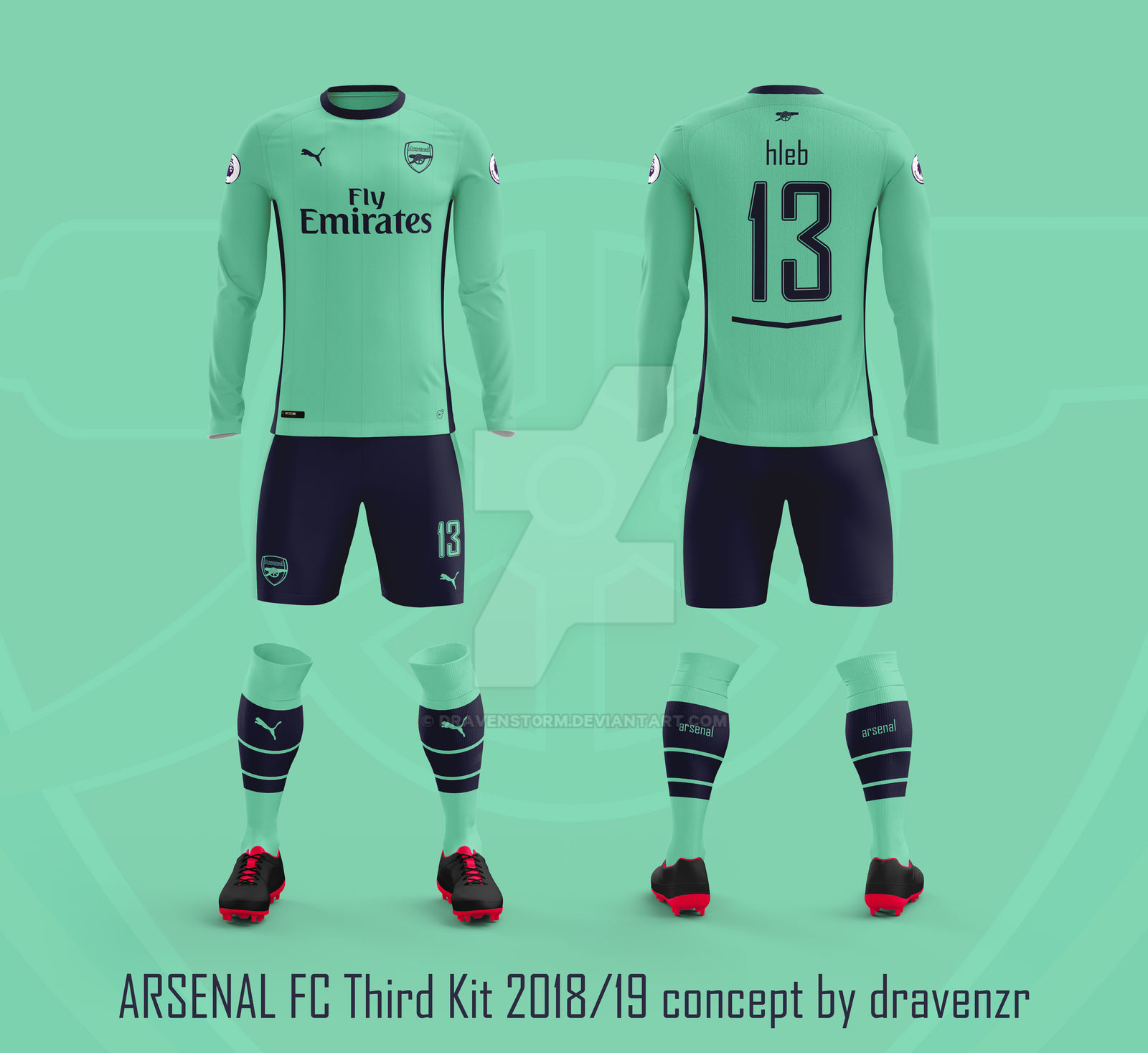 reputable site 48559 a9b86 Arsenal FC Third Kit 2018/19 Concept by Dravenzr by ...