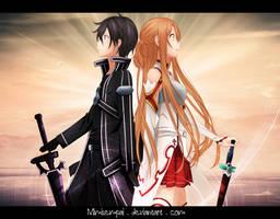 SaO Asuna and Kirito_Gift for RosenAngel by MimiSempai