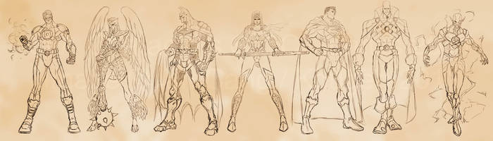 Justice League Big 7 Redesign by Kougen
