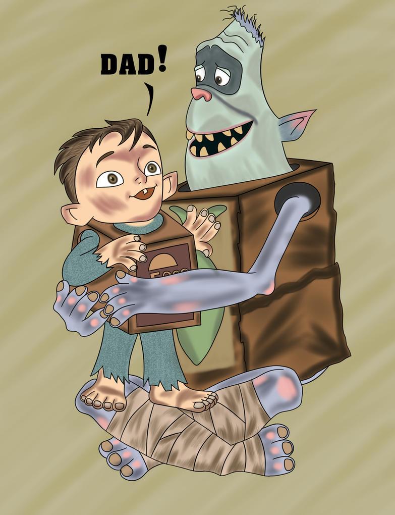 boxtrolls: baby your hug dad fish. by boxeggsfish