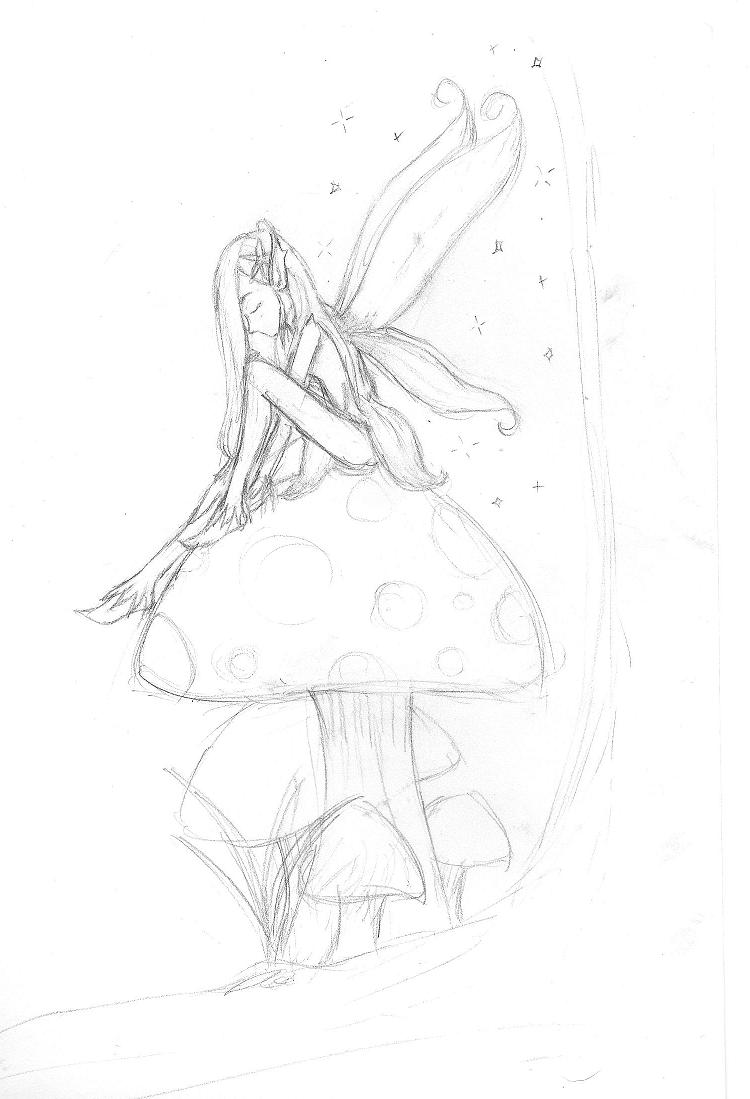 Mushroom fairy by mysticfairygirl on deviantart for Fairy on a mushroom drawing