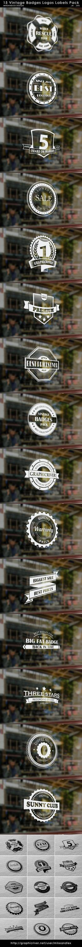 15-vintage-badges-logos-labels-pack by mikeandlex