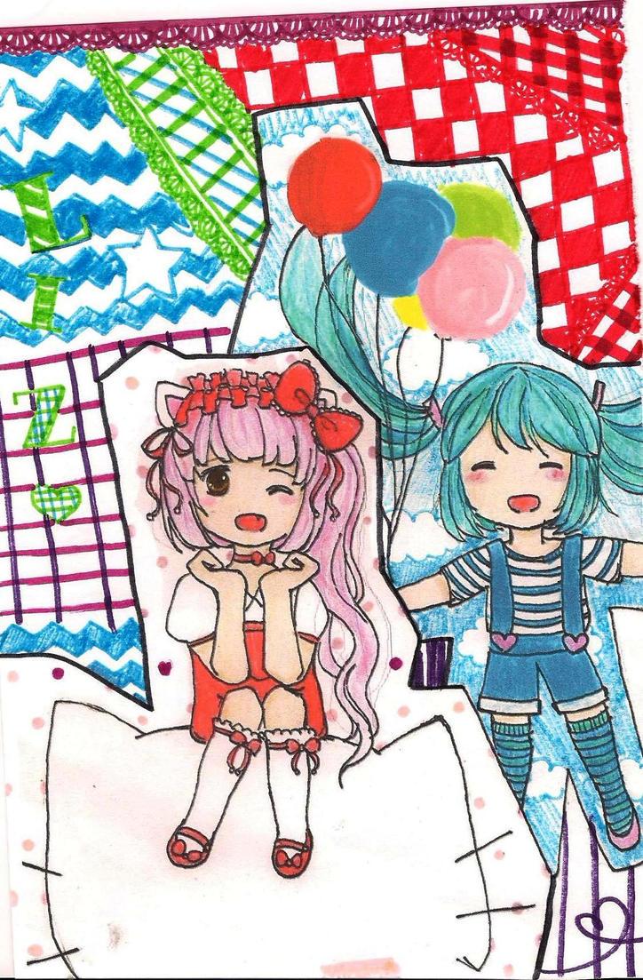 Miku and Nekomura by Mina-Nyan
