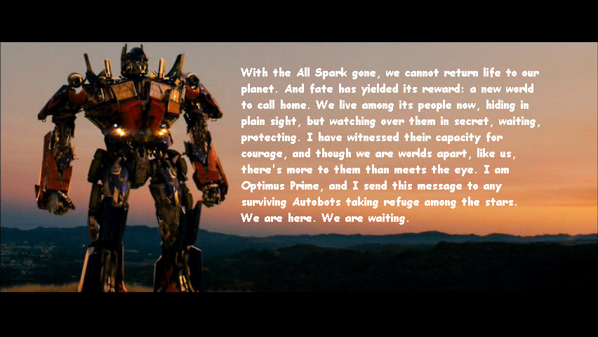 Transformers 2 I Love You Quote : Optimus Prime Quotes