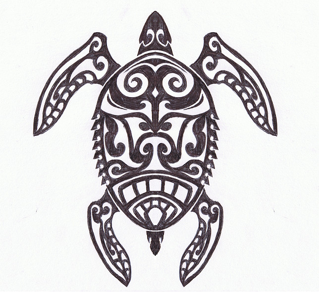 Tribal Turtle Drawings Tribal - Sea Turtle by...