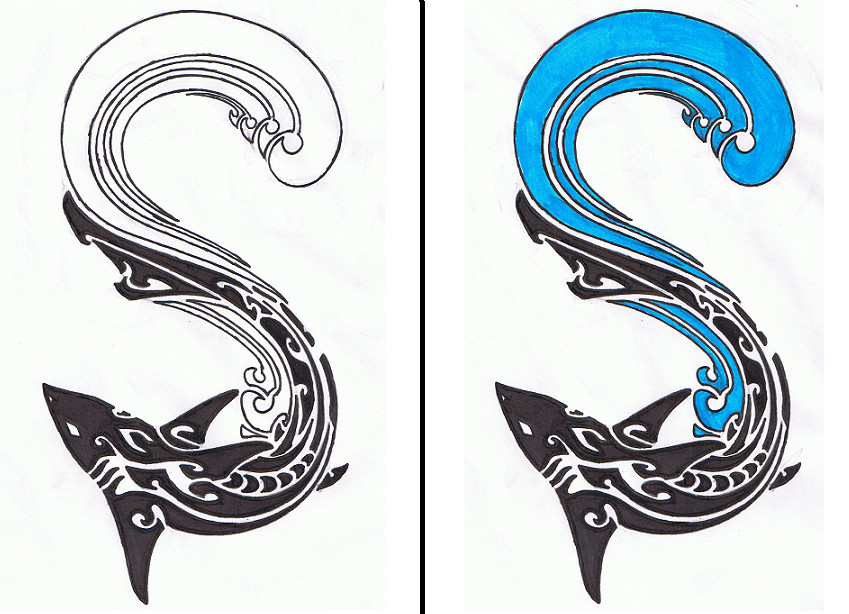 Tribal Shark and Wave by Helletic-Hybrid