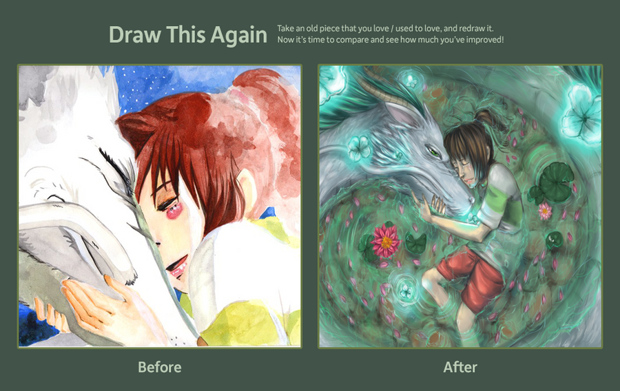 Draw this again challenge - Chihiro and Haku by HaitiKage