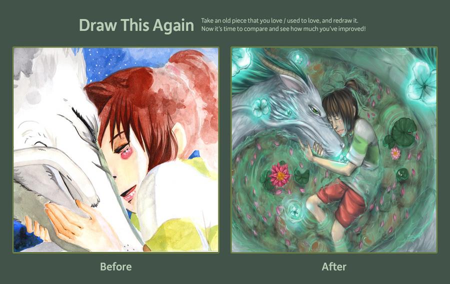 Draw this again challenge - Chihiro and Haku by HaitiKage