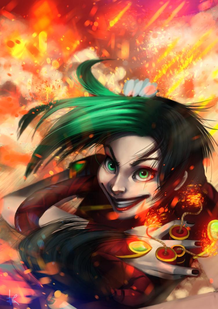 Jinx Firecracker league of legends by HaitiKage