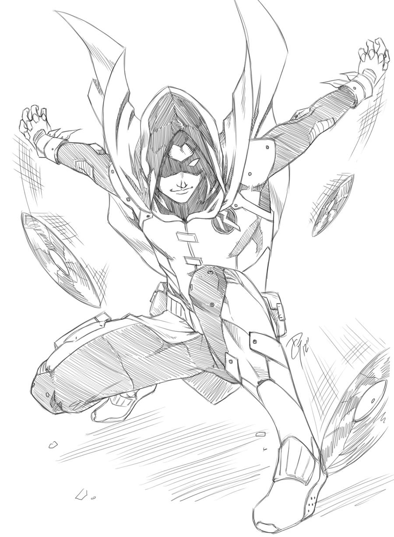 Line Drawing Robin : Robin damian by dg doodles on deviantart