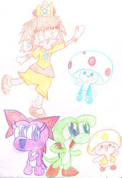 Mario characters in colour by Bomberdrawer