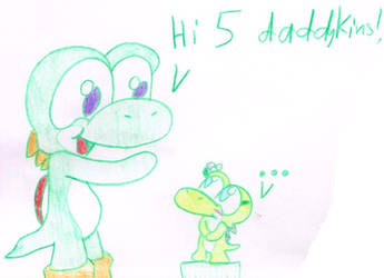 Yoshi and the baby girl by Bomberdrawer