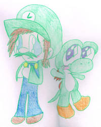 Luigi and Yoshi by Bomberdrawer