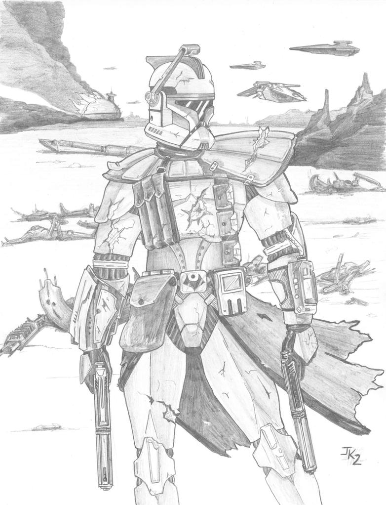 Arc trooper pencilled by kuk man on deviantart for Clone trooper coloring pages