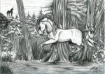 Unicorn i the forest