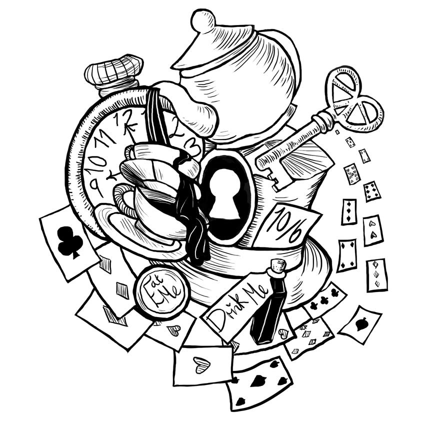 Alice in Wonderland Tattoo by plushymcmuffin