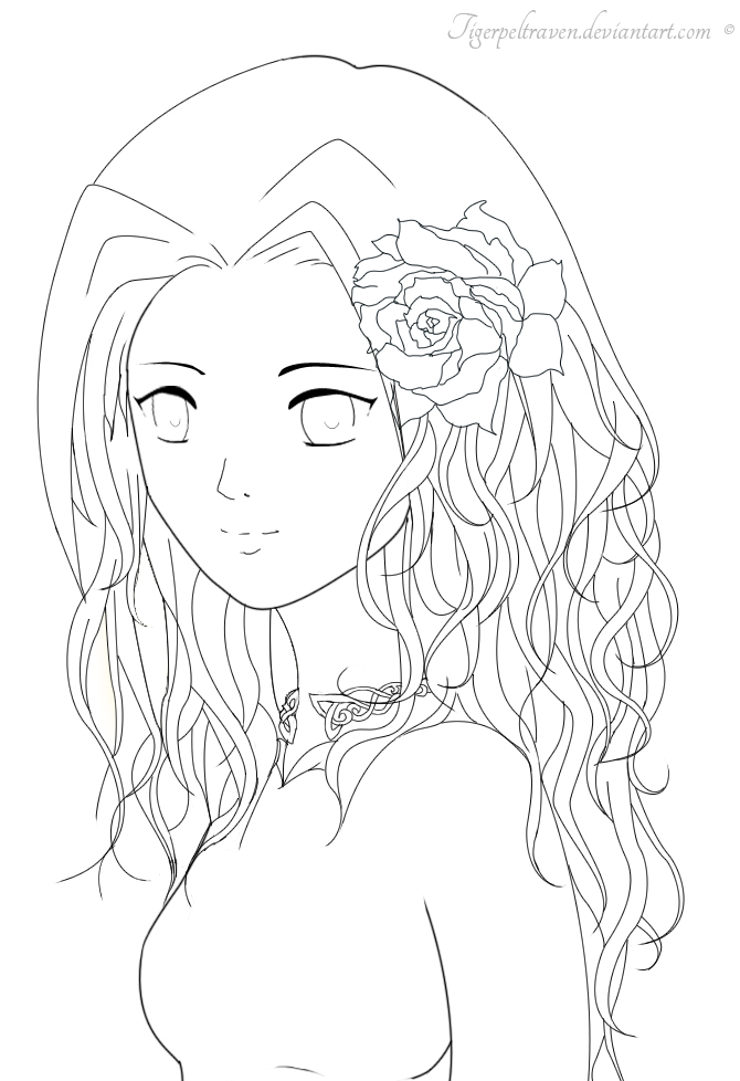 Rose Girl Lineart by TigerpeltRaven