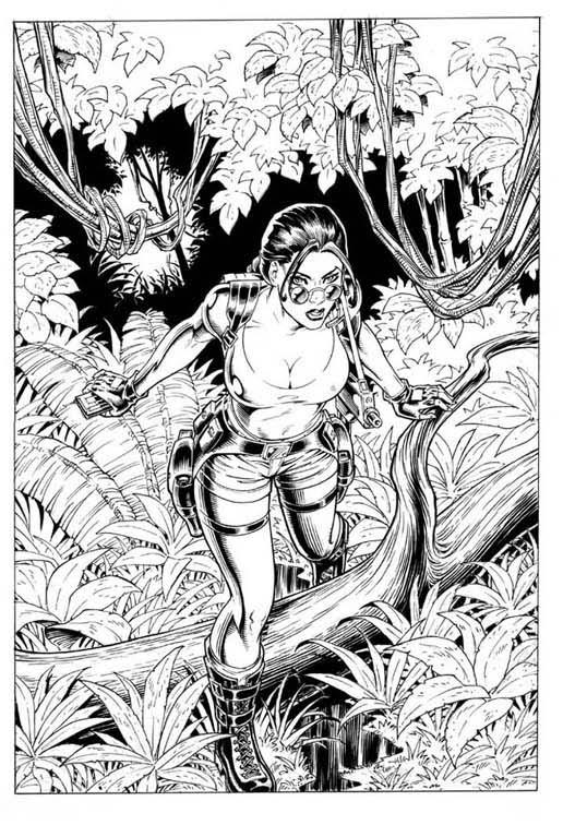 lara croft page 1 by tarzman - Lara Croft Coloring Pages