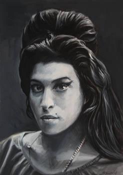 Amy in grey Gouache