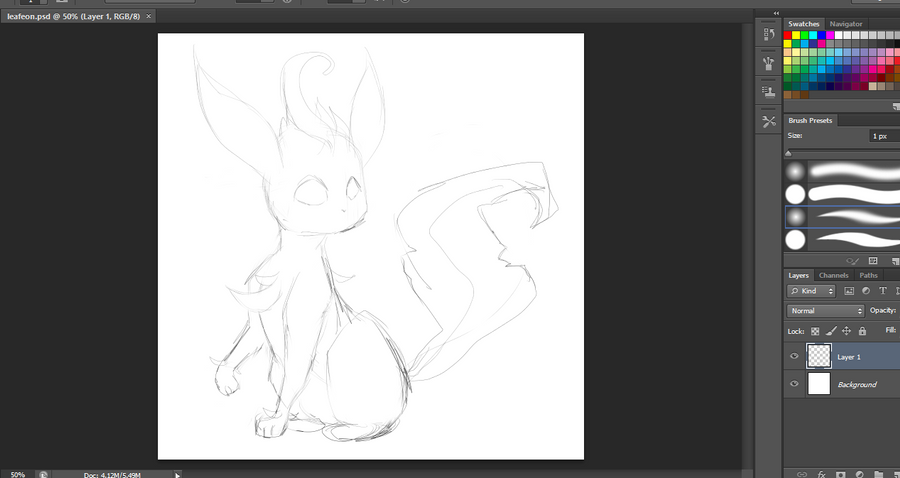 Leafeon WIP by canarycharm