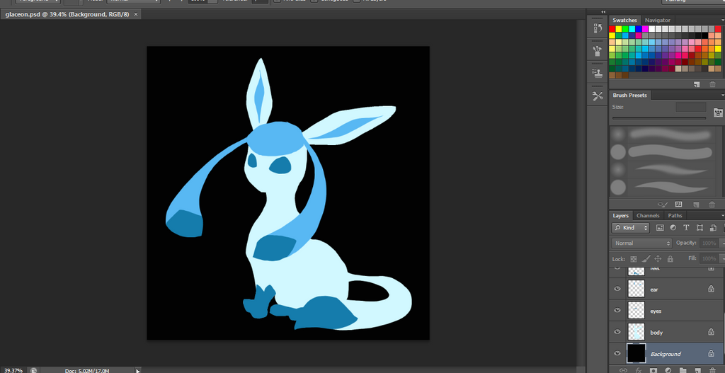 Glaceon WIP by canarycharm