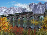 Train and Bridge and Mountains