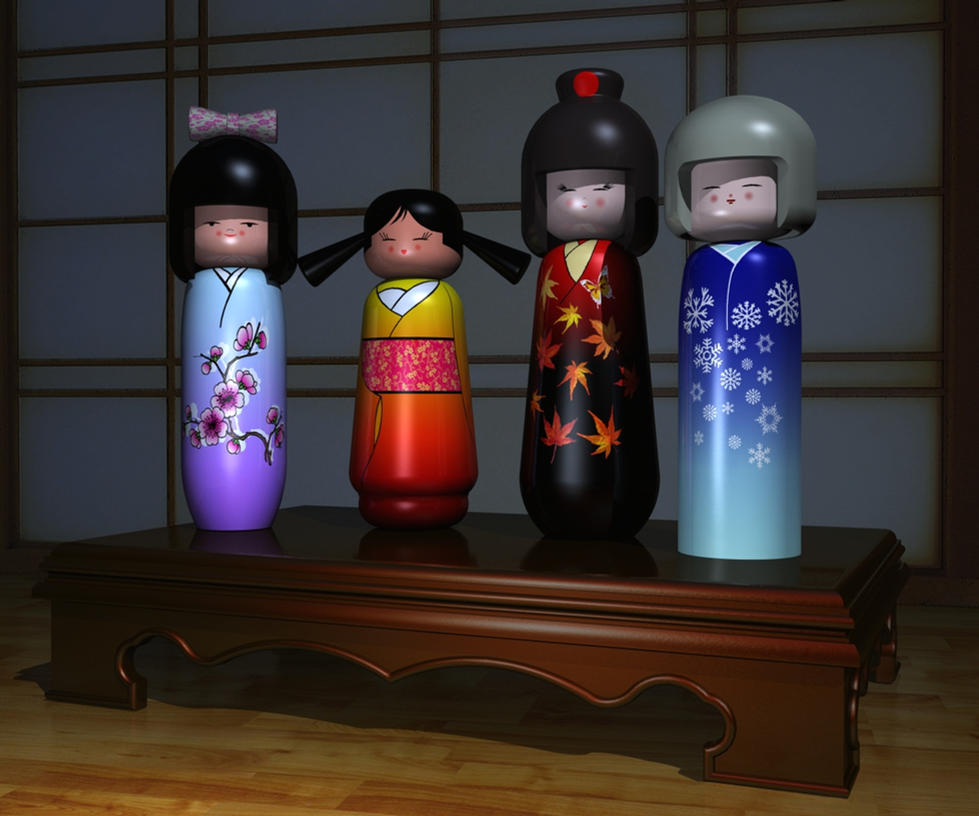 Kokeshi Dolls by xmas-kitty