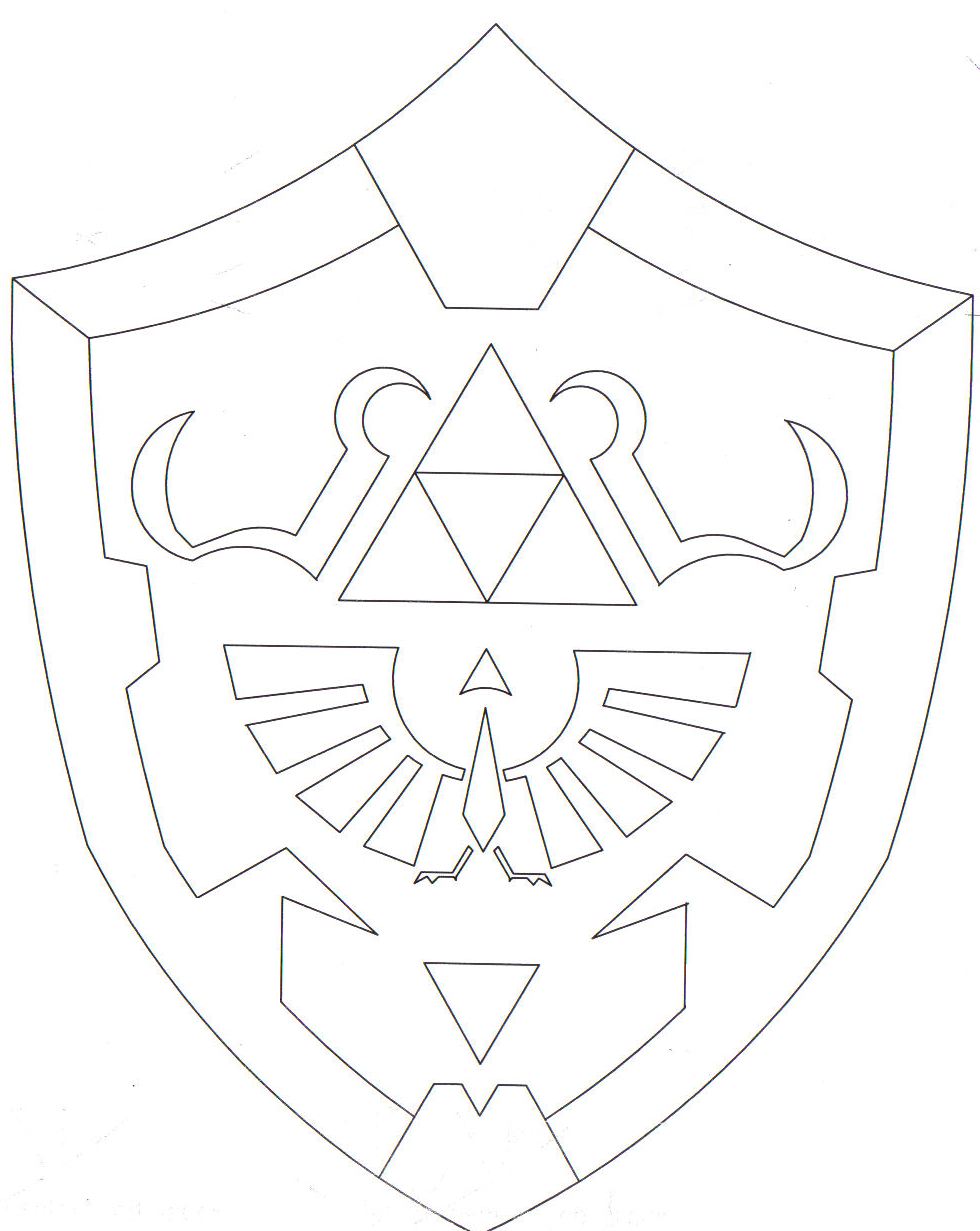 Shield Outline Drawing Hylian Shield By...980