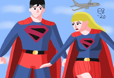 Kingdom Come Superman and Supergirl take flight! by Leck-Zilla