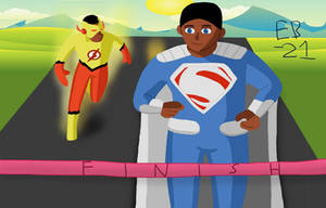 The Kid Flash/Superman race! by Leck-Zilla