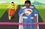 The Kid Flash/Superman (Val-Zod) race! by Leck-Zilla