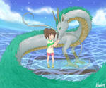 Chihiro and Haku by Howleng