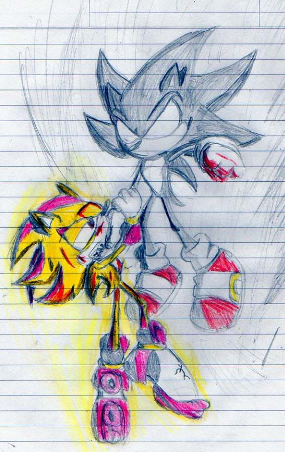 Dark Sonic vs Super Shadow by Spin-Of-Hedgehog on DeviantArt