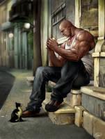 Big man and a cat.
