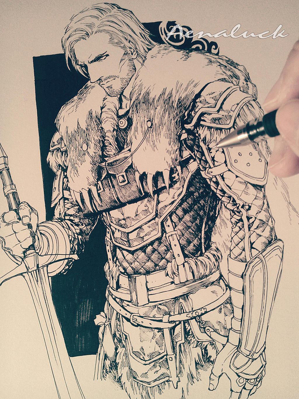 Pen sketch(no erasing) by aenaluck