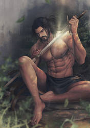 Carlnes cleaning his sword by aenaluck