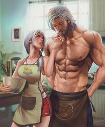 Hot couple in the kitchen by aenaluck