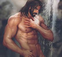 Someone enjoying an outdoor shower