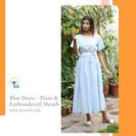 Blue Dress - Plain  Embroidered Sheath