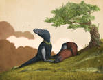 Tyrannosaur Sleepytime by Mark Witton