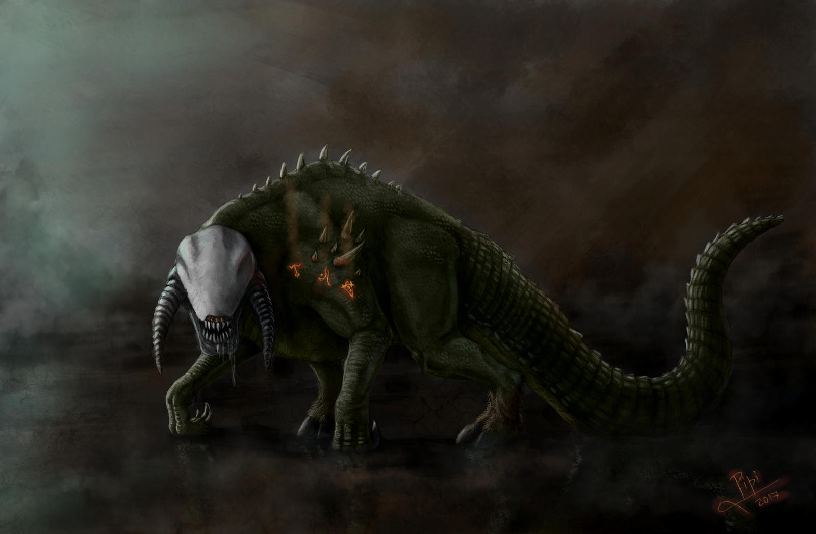 Face your demons, with color by Giganotosaur