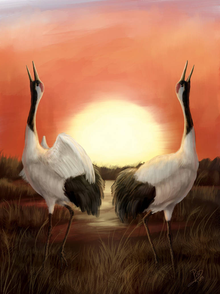 Dancing cranes by Giganotosaur