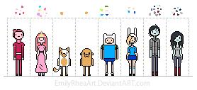 Adventure Time Pixel People by EmilyRheaArt