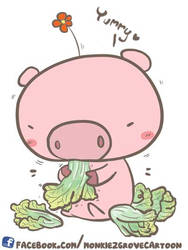 Piglet and Chinese cabbage