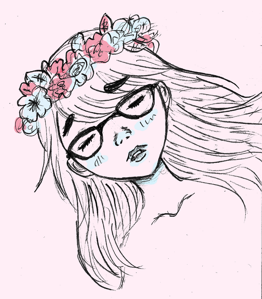Girl with flower crown drawing - photo#45