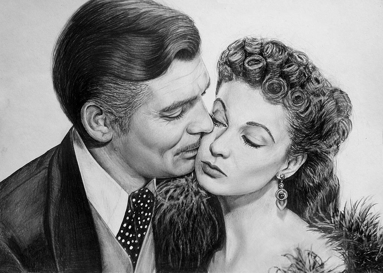 Clark Gable and Vivien Leigh as Rhett Butler and Scarlett O'Hara in Gone with the Wind #art #portrait #film