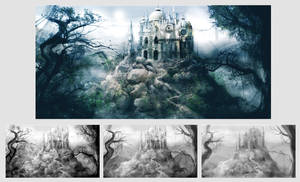 Castle - matte painting by tanuki-chan