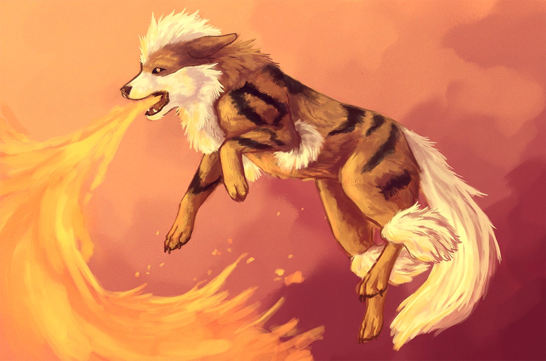 Arcanine Flamethrower by Singarl