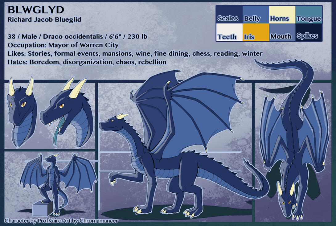 Bluegild Ref Sheet by Chromamancer