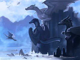 Dragon Cliffs by Chromamancer